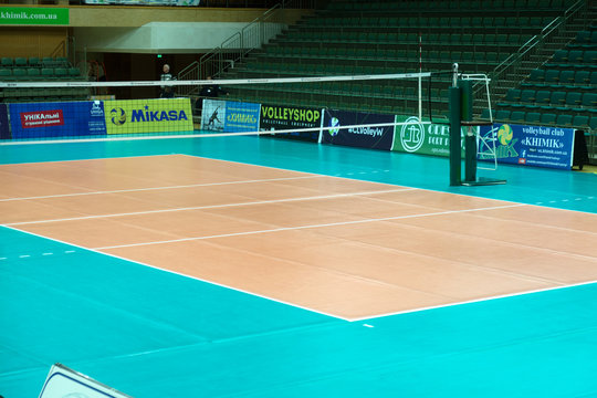 ODESSA, SOUTH, UKRAINE - October 15, 2019. Women's European Volleyball Championship. Volleyball court, net prepared in anticipation of match. CEV Champions League Volley 2020