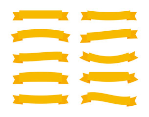Set different flat vector ribbons banners isolated on white background. Yellow strips in origami style Vector illustration design