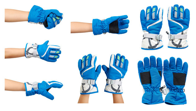 Blue ski gloves, kids hand protection, set and collection.