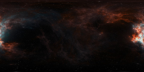 Fototapete - 360 degree giant nebula after a supernova explosion, equirectangular projection, environment map. HDRI spherical panorama.