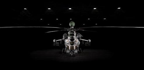 """Mi-28 N modern attack helicopter in the dark, lit by spotlights. Mil Mi-28 (NATO reporting name """"Havoc"""") 24.03.2019, Rostov Region, Russia"""