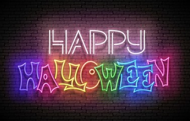 Glow Greeting Card with Happy Halloween Inscription