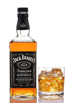 IRVINE, CALIFORNIA - DEC 28, 2018: A bottle of Jack Daniels Tennessee Whiskey, with glass, from Lynchburg, Tennessee, is the top selling American Whiskey in the world.