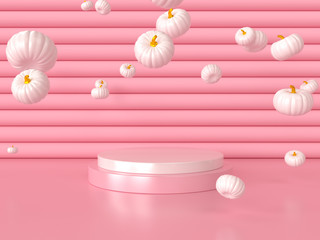 Abstract Pink background with geometric shape podium for product. Minimal concept. Pink halloween pumpkins on Pink background, holiday decoration. 3d render
