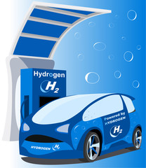 Hydrogen car charge point (micro car)- Fuel cell vehicle - hydrogen-powered fuel cell - charge station - next fuel (background)