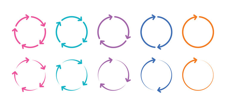 colorful arrows rotating around circle. rotating arrow signs. ring arrow signs