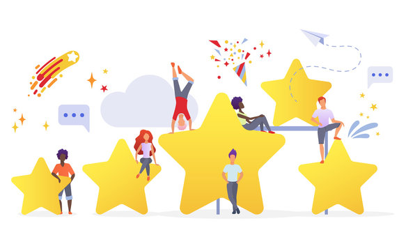 People with golden stars flat vector illustration. Users evaluating app performance. Customers giving feedback cartoon characters. Measuring consumers satisfaction with rating system