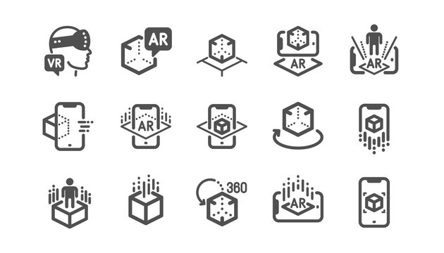 Augmented reality icons. VR simulation, Panorama view, 360 degrees. Virtual reality gaming, augmented, full rotation arrows icons. Classic set. Quality set. Vector