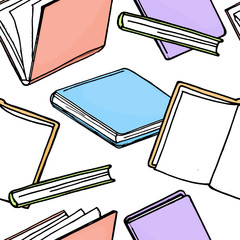 Seamless pattern with colorful books on white background.