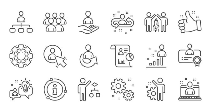 Management line icons. Business people, Algorithm and Group. Startup strategy linear icon set. Quality line set. Vector