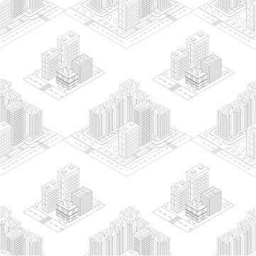 Seamless pattern isometric urban megalopolis top view of the city infrastructure town, street, houses, architecture 3d elements different buildings