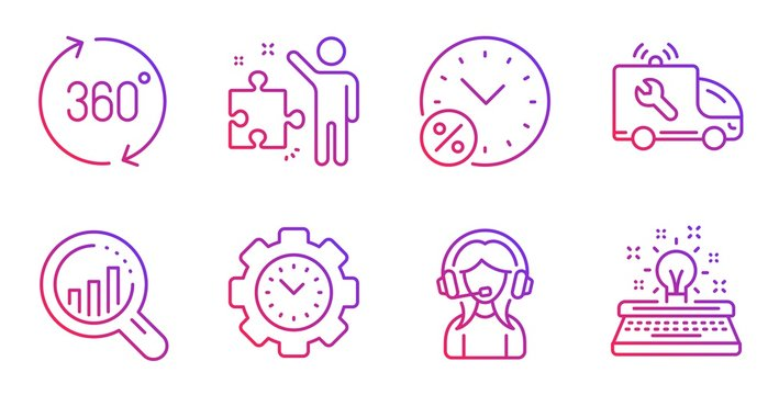 Time management, Seo analysis and Loan percent line icons set. 360 degrees, Strategy and Support signs. Car service, Typewriter symbols. Settings, Targeting chart. Technology set. Vector