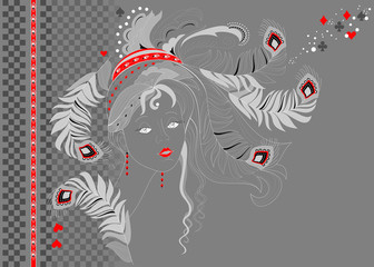 Abstract portrait of beautiful girl at night party. Poster for carnival festival or modern pop cabaret. Background for masquerade holiday Mardi Gras. Book cover for kids fairy tale. Vector image.
