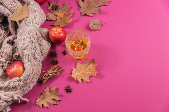 Whiskey, brandy or liquor, spices and autumn decorations on dark background