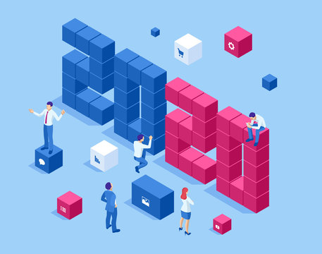 Isometric a Happy New Year 2020 greetings. Strategy, promotion campaign concept,