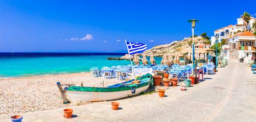 Traditional Greek seaside taverns . beautiful Samos island, Kokkari village