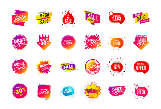 Sale banner badge. Special offer discount tags. Coupon shape templates design. Cyber monday sale discounts. Black friday shopping icons. Best ultimate offer badge. Super discount icons. Vector banners