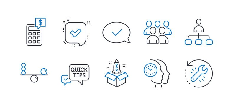 Set of Education icons, such as Startup, Time management, Confirmed, Balance, Approved message, Group, Management, Calculator, Quick tips, Recovery tool line icons. Line startup icon. Vector
