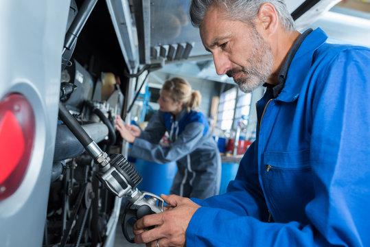 camper van mechanics at work