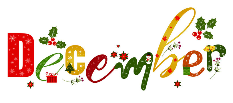 """""""December"""" holidays month text creative with gifts flowers and leaves. Decoration text floral. Decoration letters, Illustration December. Christmas"""