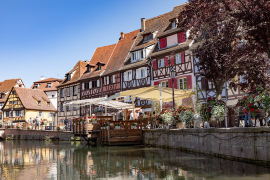 Traditional buildings in the  little Venice area in the old town of Colmar