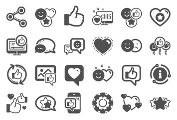 Social media icons. Set - Share network, Social links and Rating icons. Heart, Feedback smile emotion and internet media. Share network, like icon, video content rating and dislike. Vector
