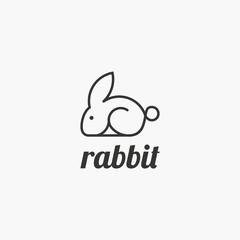 Rabbit Line Style flat icon on white background . jump rabbit high speed logo vector simple minimalist