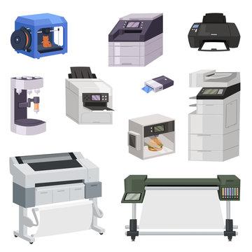 Printer vector print machine technology office equipment printing on paper illustration isometric set of digital laser work design copier scanner modern device isolated on white background