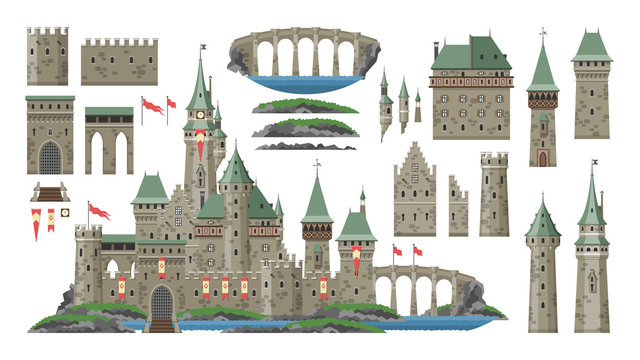 Cartoon castle vector fairytale medieval tower of fantasy palace building in kingdom fairyland illustration set of historical fairy-tale house bastion constructor isolated on white background