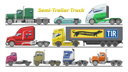 Semi trailer truck vector vehicle transport delivery cargo shipping illustration set of trucking freight lorry semi-truck isolated on white background