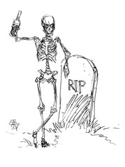 Skeleton line drawing with bottle leaning on tombstone