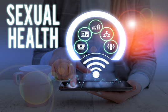 Writing note showing Sexual Health. Business concept for positive and respectful approach to sexual relationships Picture photo network scheme with modern smart device