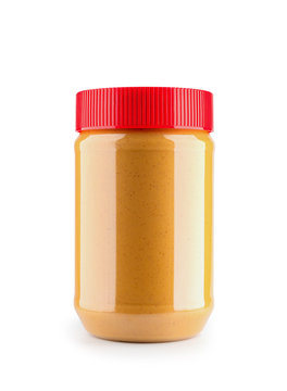 close up of peanut butter bottle mockup isolated on white background, File contains a clipping path.