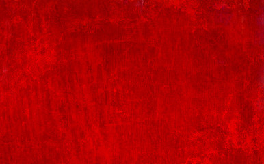Wall Mural - old red grunge texture background with wood grain and paint spatter