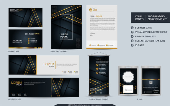 Luxury black gold stationery mock up set and visual brand identity with abstract overlap layers background