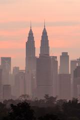Deurstickers Kuala Lumpur beautiful sunrise over kuala lumpur city skyline