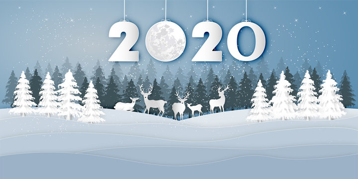 Paper art , cut and digital craft style of Reindeers or deers in village in the snow wintry season with trees as Merry Christmas and Happy New Year 2020 concept. vector illustration EPS10.