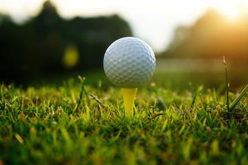 Golf ball on tee in beautiful golf course