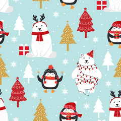 Christmas seamless pattern with polar bear background, Winter pattern with penguin, wrapping paper, pattern fills, winter greetings, web page background, Christmas and New Year greeting cards