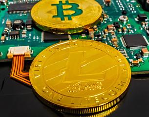 Satoshi Nakamoto BTC Gold Plated Bitcoin Coin Litecoin LTC computer hard disk drive HDD