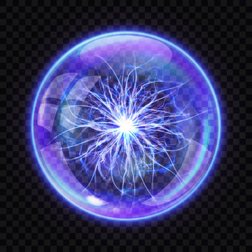 Magic ball with electric lightning inside, realistic vector illustration. Transparent glass or crystal sphere for spiritualistic sessions with energetic flash isolated on dark transparent background