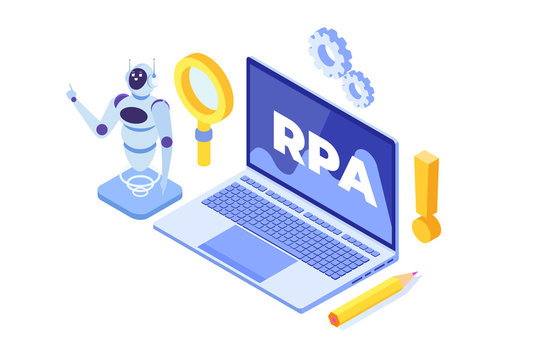 Robotic Process Automation concept, RPA. Robot or Chat bot helps people in  different  tasks. Vector isometric illustration.