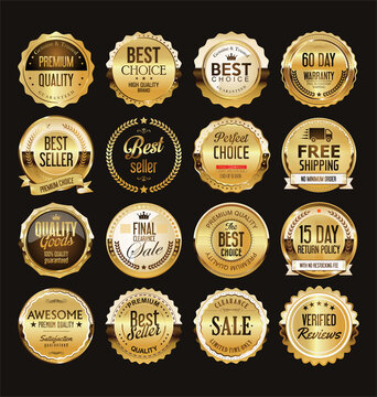 Golden retro sale badges and labels collection