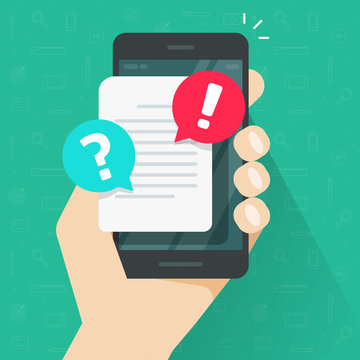 Document with alert or error notification bubble on mobile phone or cellphone vector, flat cartoon paper text file content with exclamation message or comment symbol, caution warning attention mark