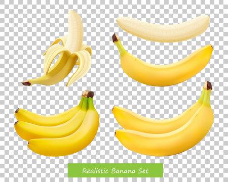 Set of different bananas. 3d realistic - vector isolated on transparent background.