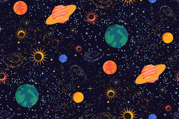Space print. Seamless vector pattern. Different colored planets of the Solar system, stars and galaxies on a dark background. Universe, outer space template. Modern flat design.