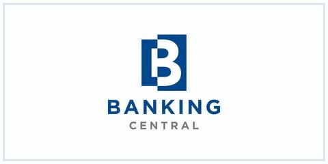 b negative squared space. banking center logo