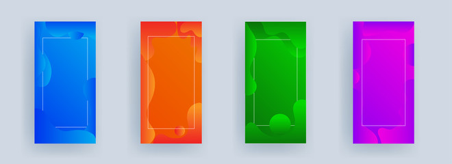 Advertising template or vertical banner design with fluid art abstract background in four color option.