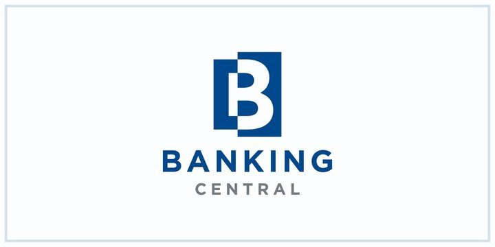 b negative squared space. banking center logo