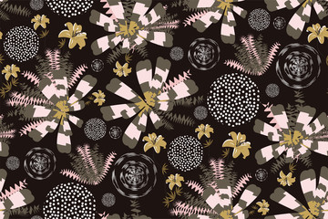Abstract seamless floral pattern. Various fabulous hand drawn flowers, leaves, lilies, circles on dark background. Creative elegant print, Wallpaper in gold, black and light pink colors. Vector